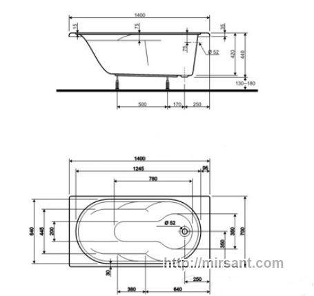 Дизайн ванны 1.70 на 1.70